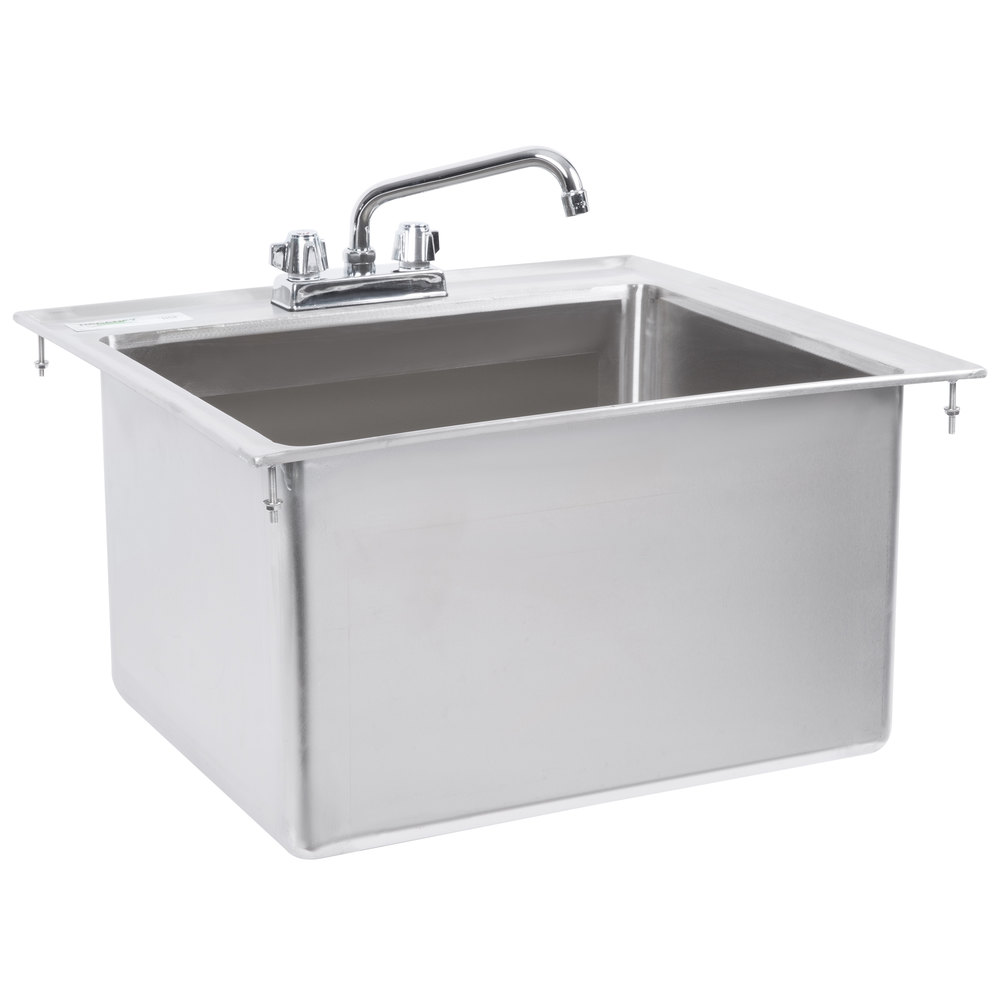 Regency 20 inch x 16 inch x 12 inch 16-Gauge Stainless Steel One Compartment Drop-In Sink with 8 inch Faucet