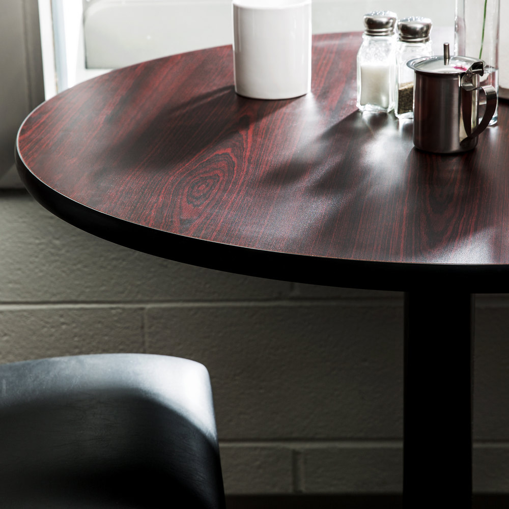 "Lancaster Table & Seating 36"" Laminated Round Table Top Reversible Cherry / Black"