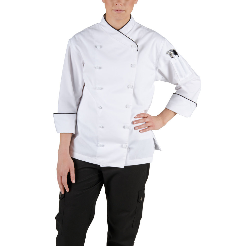 Chef Revival LJ008-XL Chef-Tex Size 16-18 (XL) Customizable Poly-Cotton Ladies Corporate Jacket with Black Piping