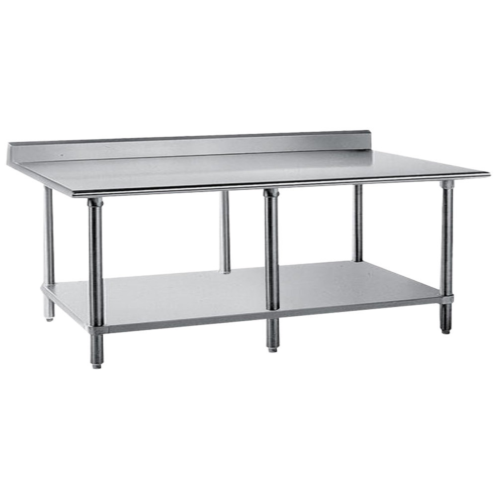 "Advance Tabco KSS-368 36"" x 96"" 14 Gauge Work Table with Stainless Steel Undershelf and 5"" Backsplash"