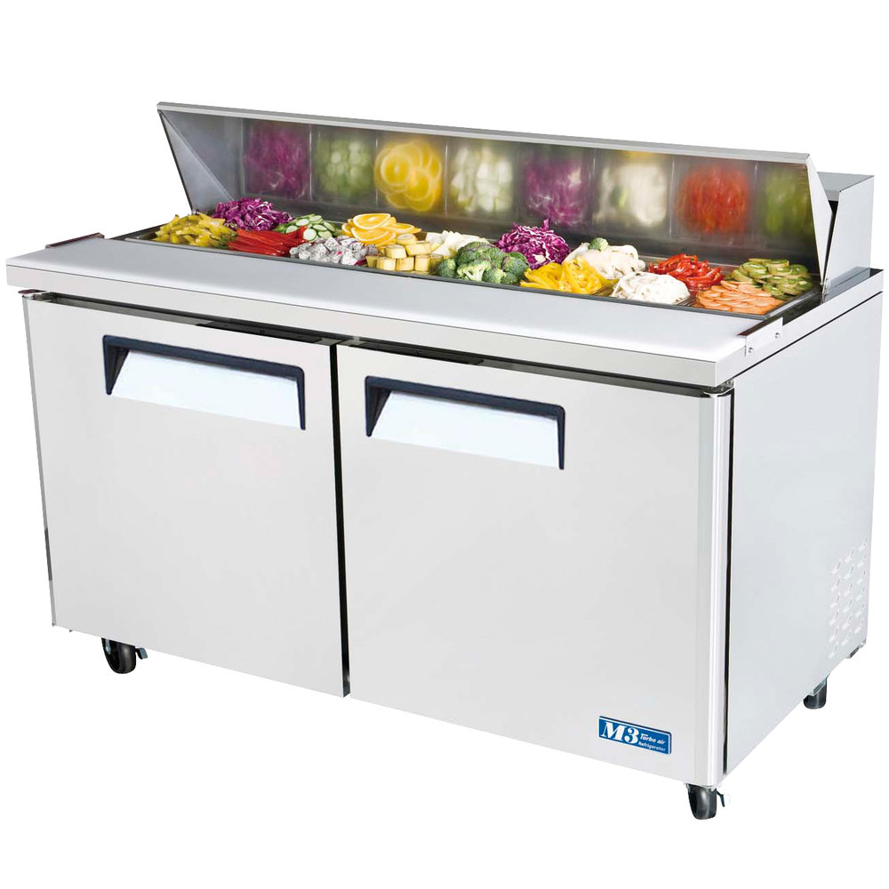 "Turbo Air MST-60 60"" 2 Door Refrigerated Sandwich Prep Table"