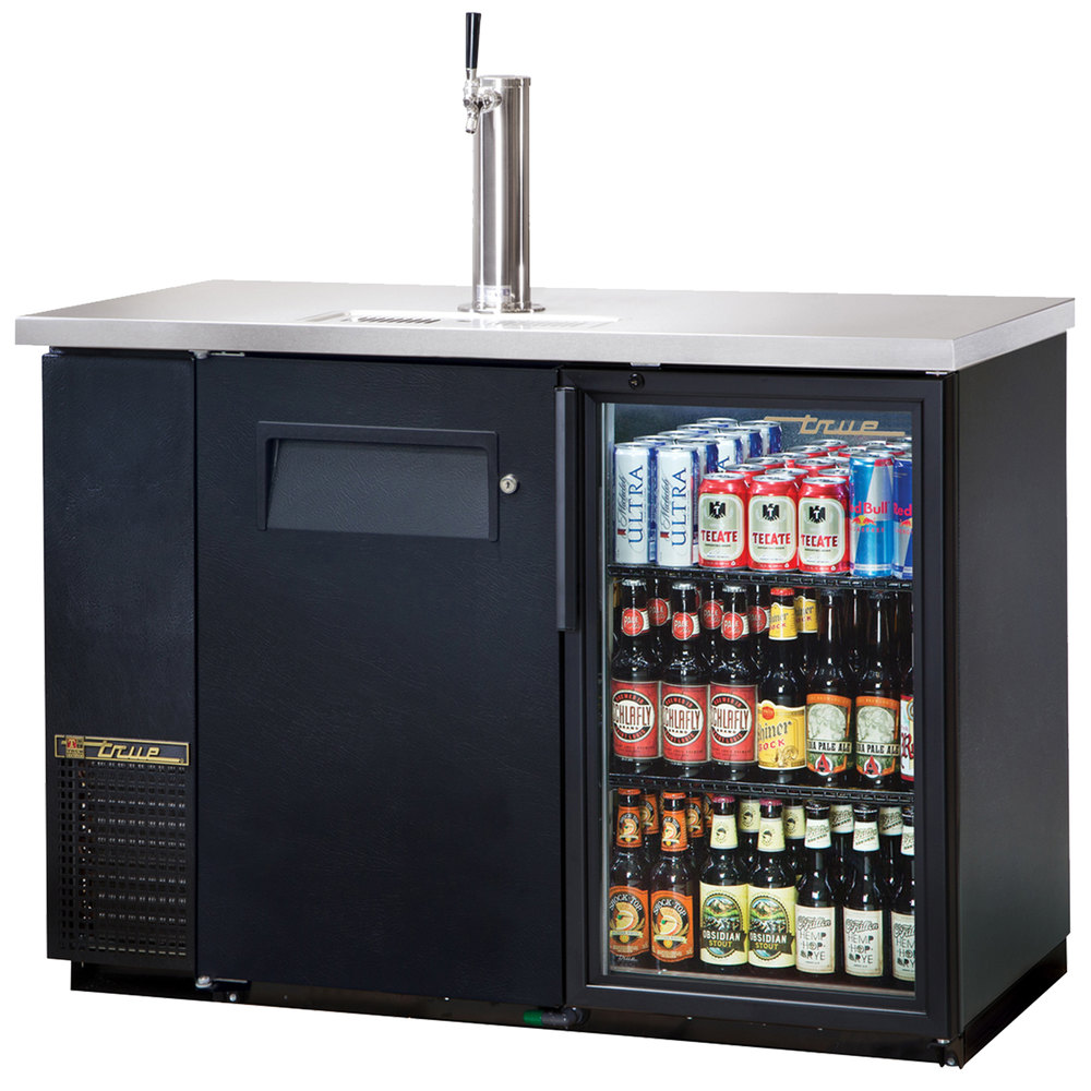 "True TDB-24-48-1-G-1 49"" Back Bar Cooler Direct Draw Kegerator Beer Dispenser with One Glass and One Solid Door"