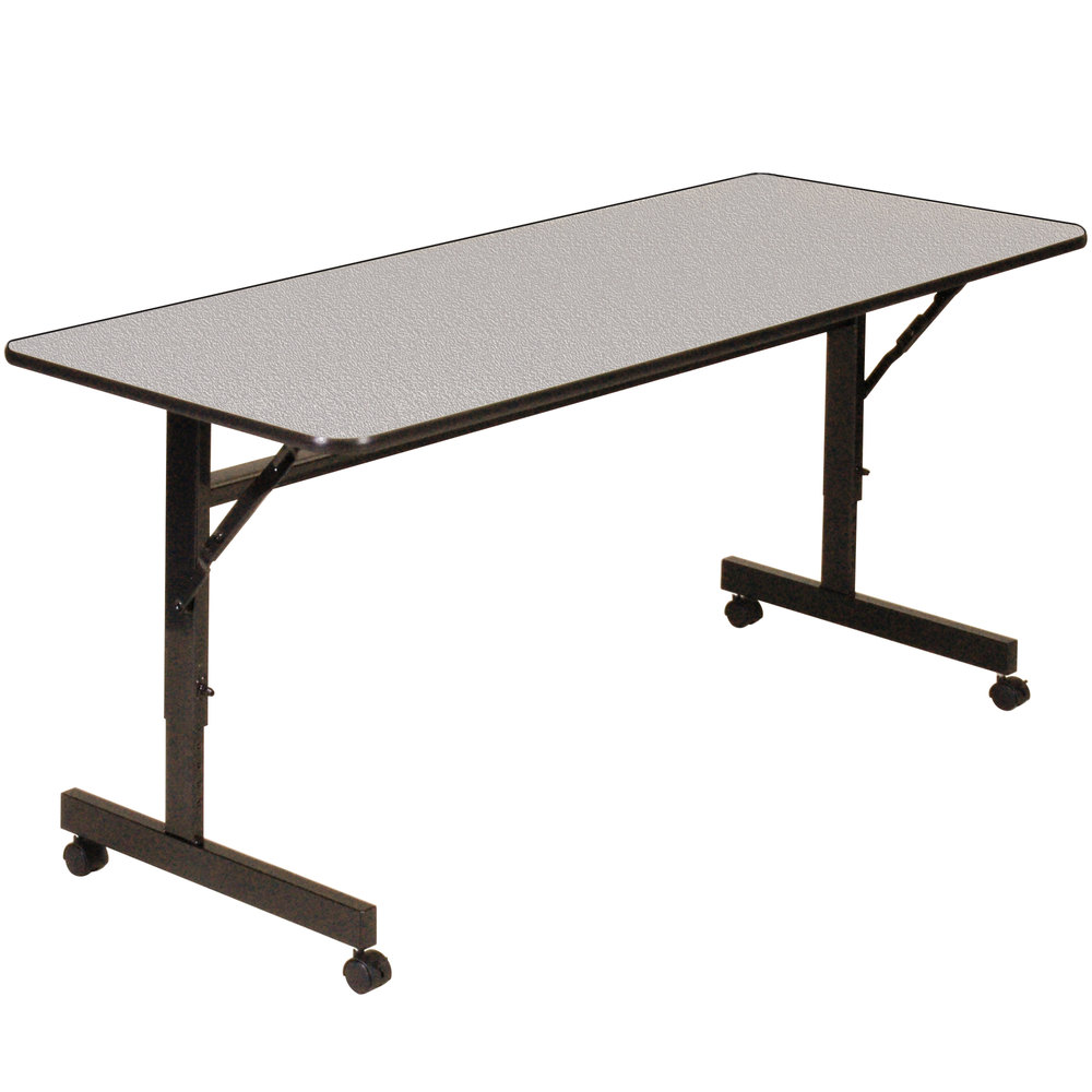 "Correll EconoLine FT2448M 24"" x 48"" Gray Melamine Top Mobile Flip Top Adjustable Height Table"
