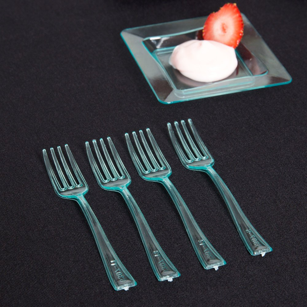 "Fineline Tiny Temptations 6500-GRN 3 7/8"" Tiny Tines Green Plastic Tasting Fork - 960/Case"