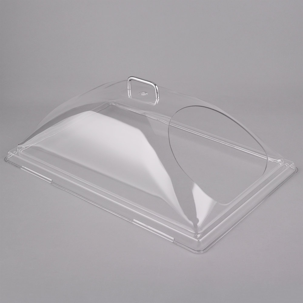 "Cambro DD1220ECW Camwear 12"" x 20"" Clear Dome Display Cover with 1 End Cut"