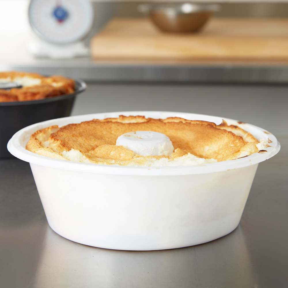 "Genpak 55SA10 White 10"" Bake N' Show Shallow Angel Food Cake Pan - Smoothwall - 200/Case"