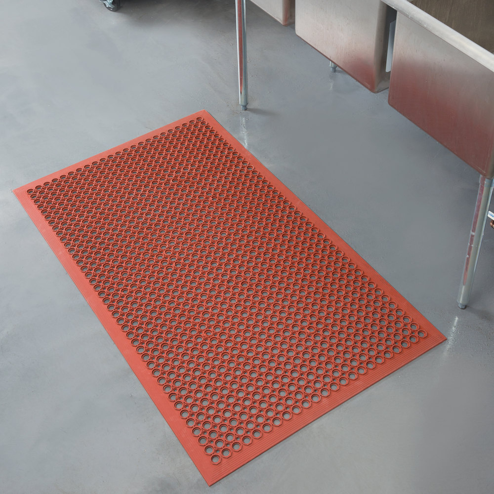 Rubber floor mats for wet areas - Teknor Apex 755 101 T30 Competitor 3 X 5 Red Grease Resistant Rubber Floor Mat With Bevel