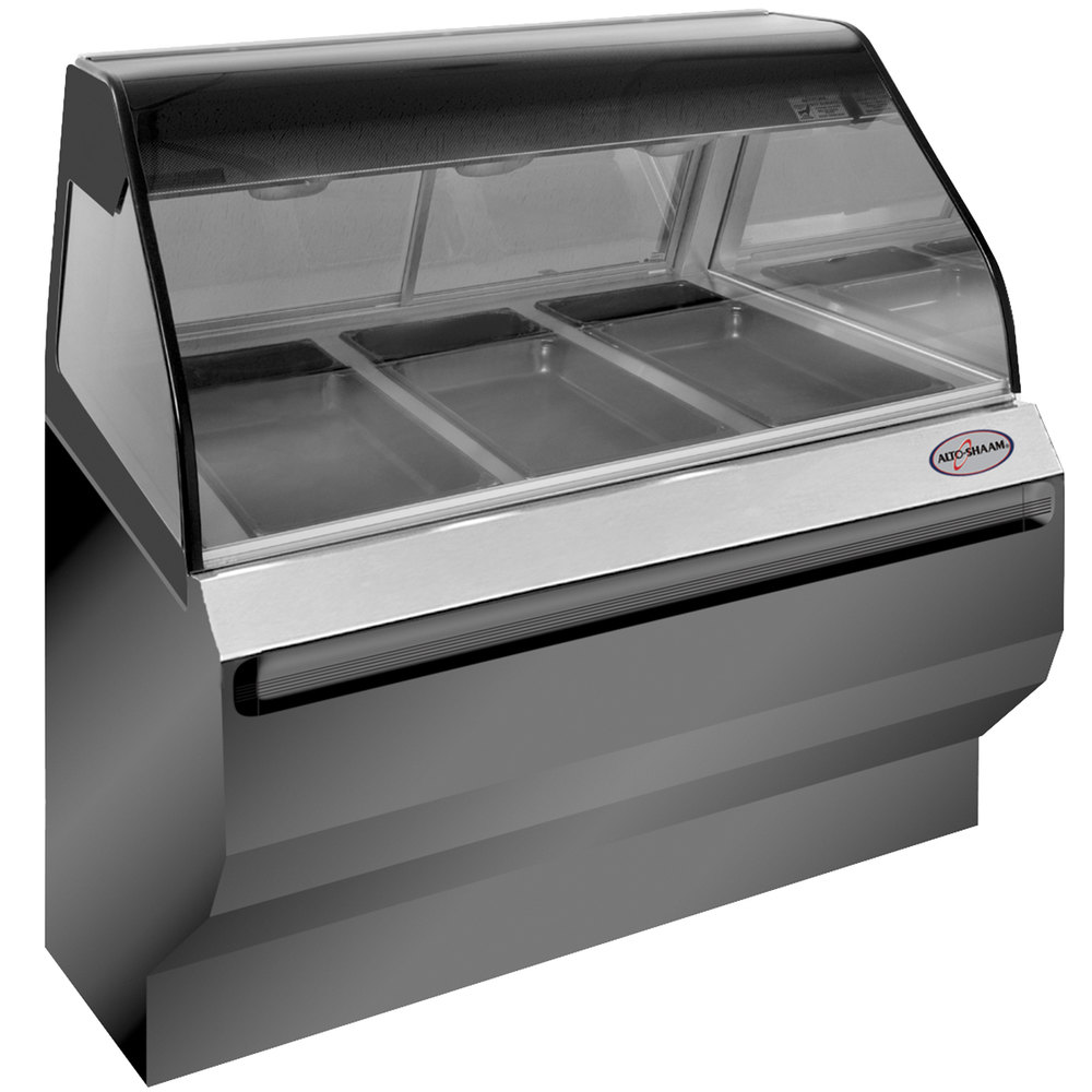 Alto-Shaam ED2SYS-48/P SS Stainless Steel Heated Display Case with Curved Glass and Base - Self Service 48""