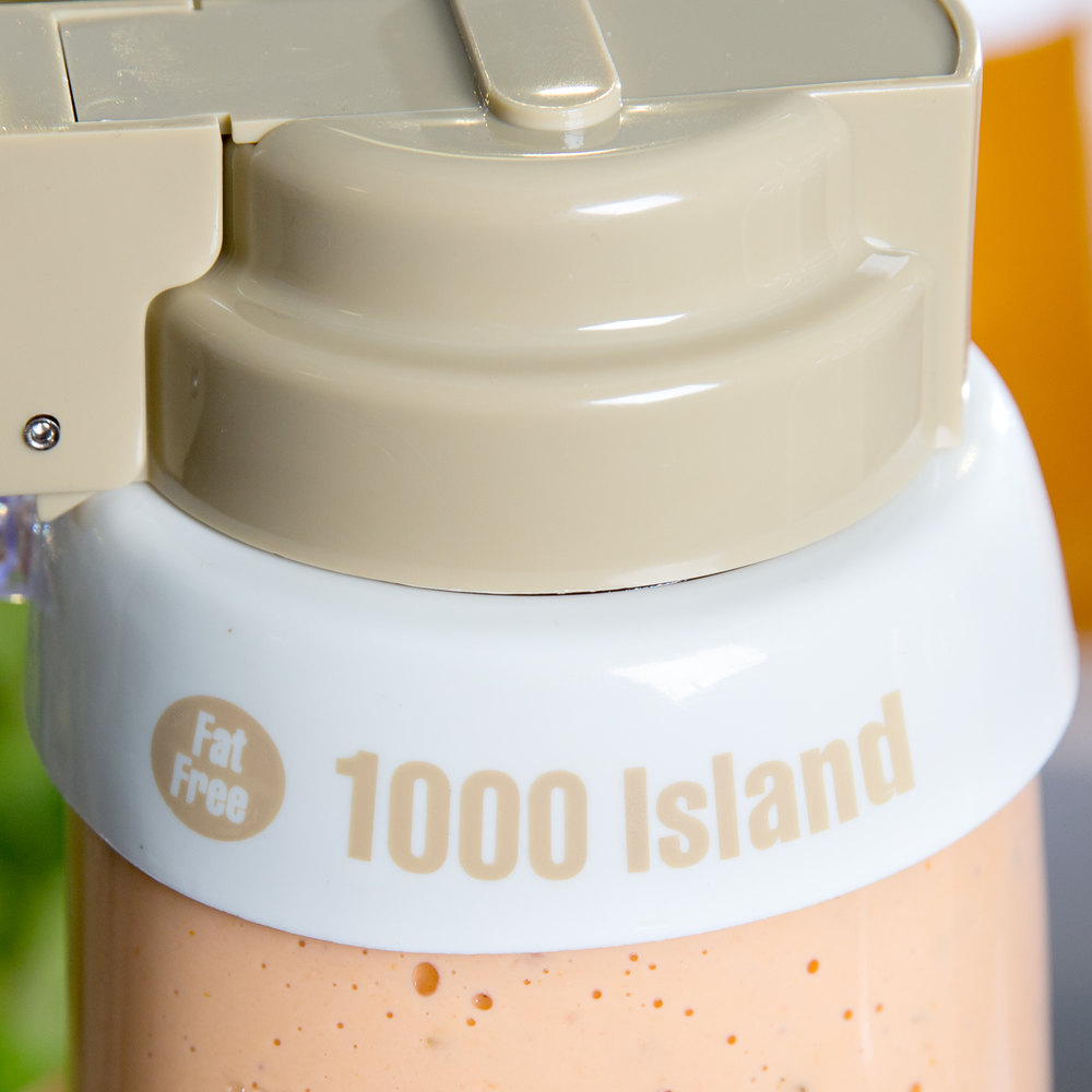 "Tablecraft CB18 Imprinted White Plastic ""Fat Free 1000 Island"" Salad Dressing Dispenser Collar with Beige Lettering"