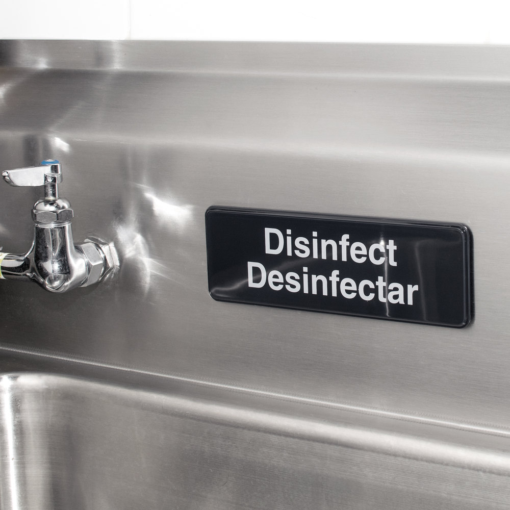 Tablecraft 394553 Black and White Disinfect / Disinfectar Sign
