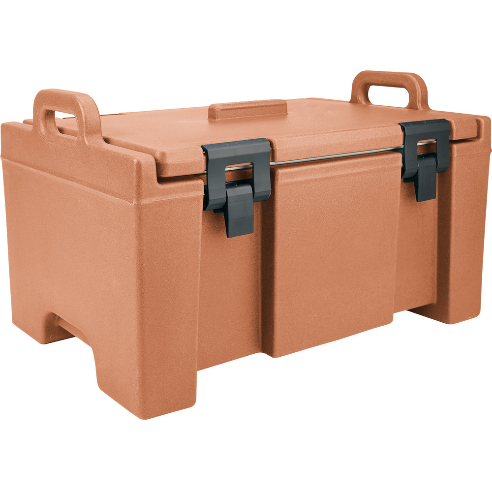 "Cambro UPC100157 Coffee Beige Camcarrier Ultra Pan Carrier with Handles - Top Load for 12"" x 20"" Food Pans"