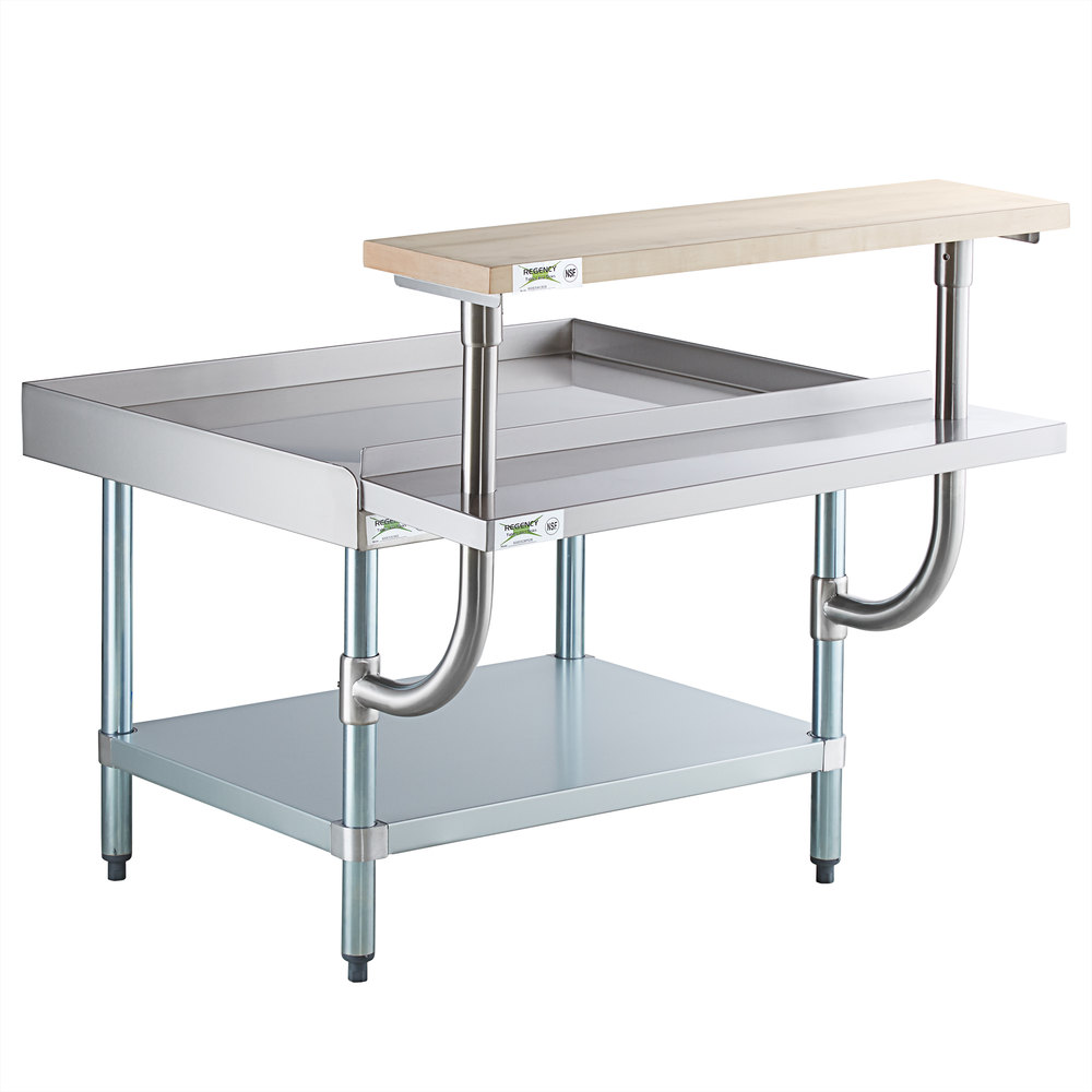 Regency 30 inch x 36 inch 16-Gauge Stainless Steel Equipment Stand with Galvanized Undershelf, 10 inch Plate Shelf, and 10 inch Wooden Adjustable Cutting Board