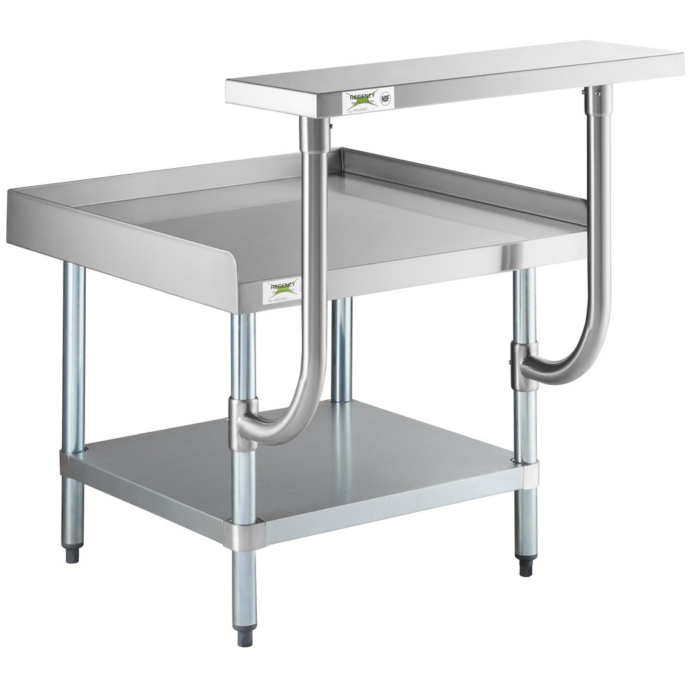 Regency 30 inch x 24 inch 16-Gauge Stainless Steel Equipment Stand with Galvanized Undershelf and 10 inch Stainless Steel Adjustable Work Surface