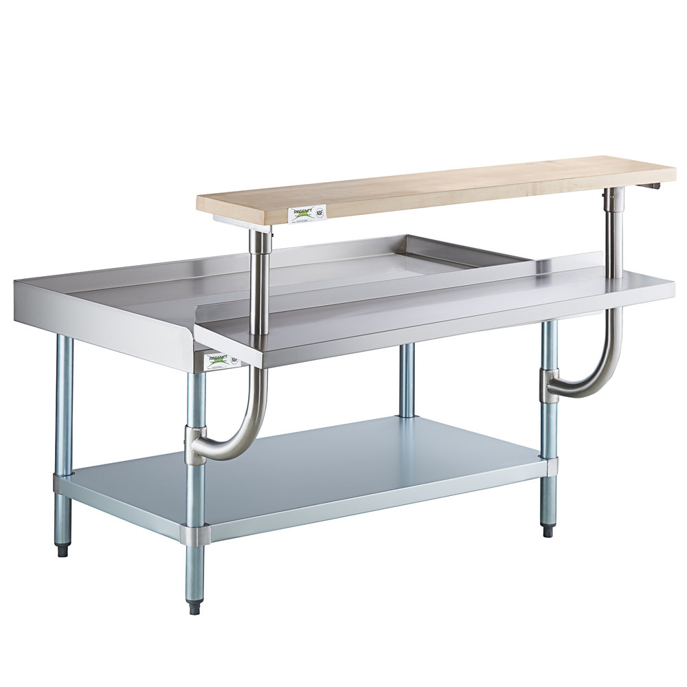 Regency 30 inch x 48 inch 16-Gauge Stainless Steel Equipment Stand with Galvanized Undershelf, 10 inch Plate Shelf, and 10 inch Wooden Adjustable Cutting Board