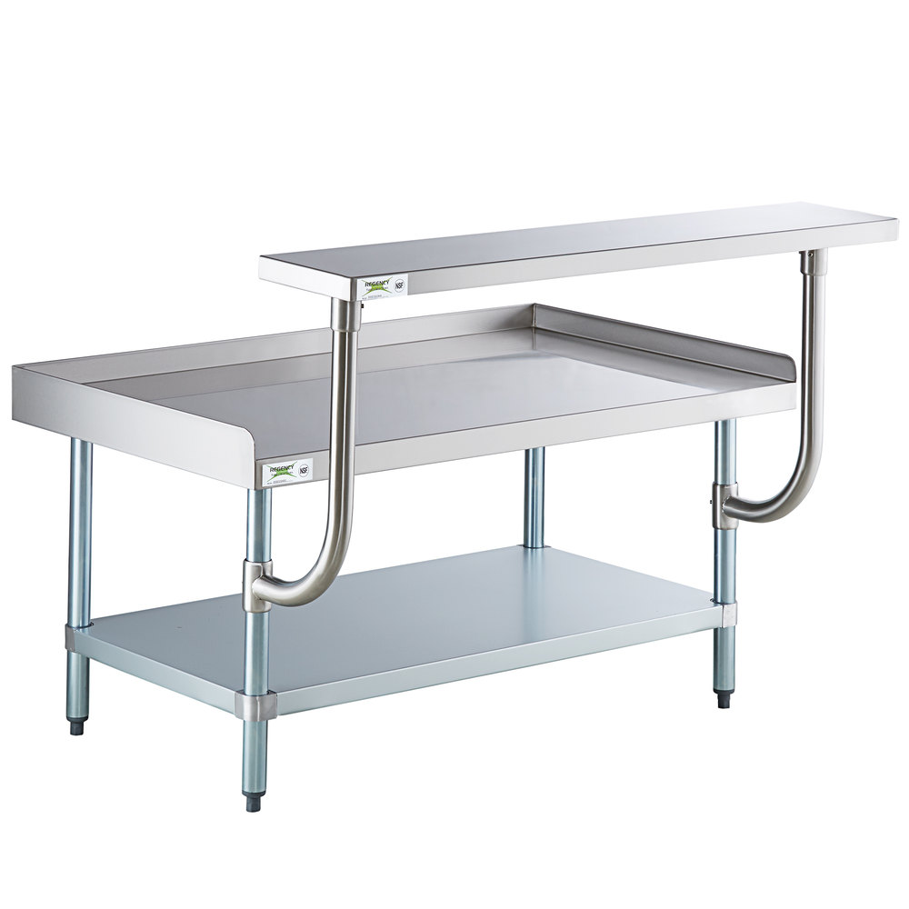 Regency 30 inch x 48 inch 16-Gauge Stainless Steel Equipment Stand with Galvanized Undershelf and 10 inch Stainless Steel Adjustable Work Surface