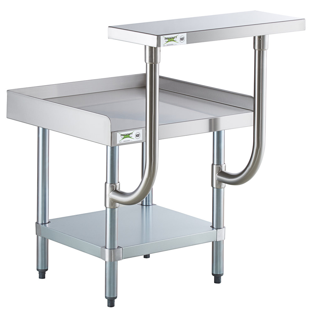 Regency 24 inch x 24 inch 16-Gauge Stainless Steel Equipment Stand with Galvanized Undershelf and 10 inch Stainless Steel Adjustable Work Surface