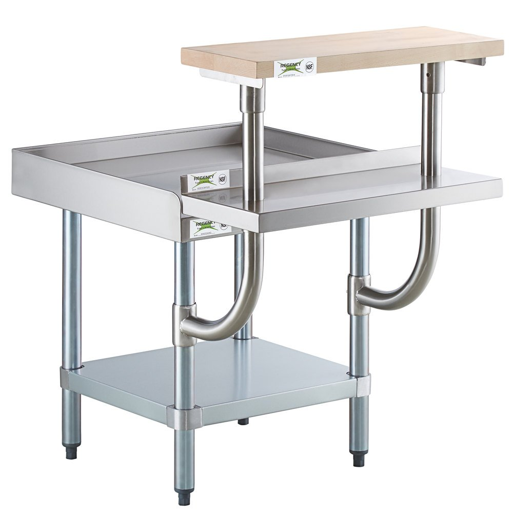 Regency 24 inch x 24 inch 16-Gauge Stainless Steel Equipment Stand with Galvanized Undershelf, 10 inch Plate Shelf, and 10 inch Wooden Adjustable Cutting Board