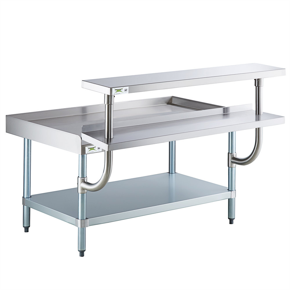 Regency 30 inch x 48 inch 16-Gauge Stainless Steel Equipment Stand with Galvanized Undershelf, 10 inch Plate Shelf, and 10 inch Stainless Steel Adjustable Work Surface