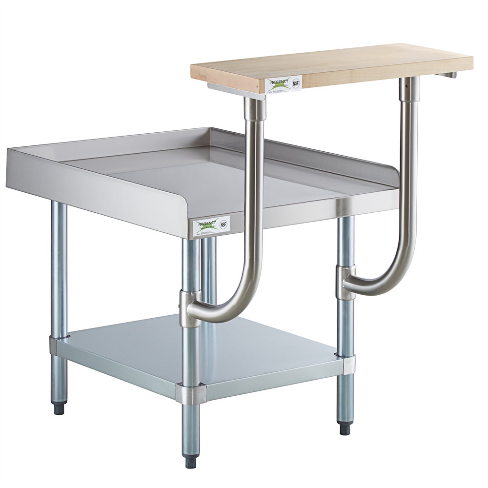 Regency 30 inch x 24 inch 16-Gauge Stainless Steel Equipment Stand with Galvanized Undershelf and 10 inch Wooden Adjustable Cutting Board