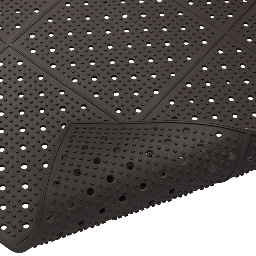 "Cactus Mat 1640R-C4 REVERS-a-MAT 4' Wide Black Reversible Rubber Anti-Fatigue Safety Runner Mat - 3/8"" Thick"