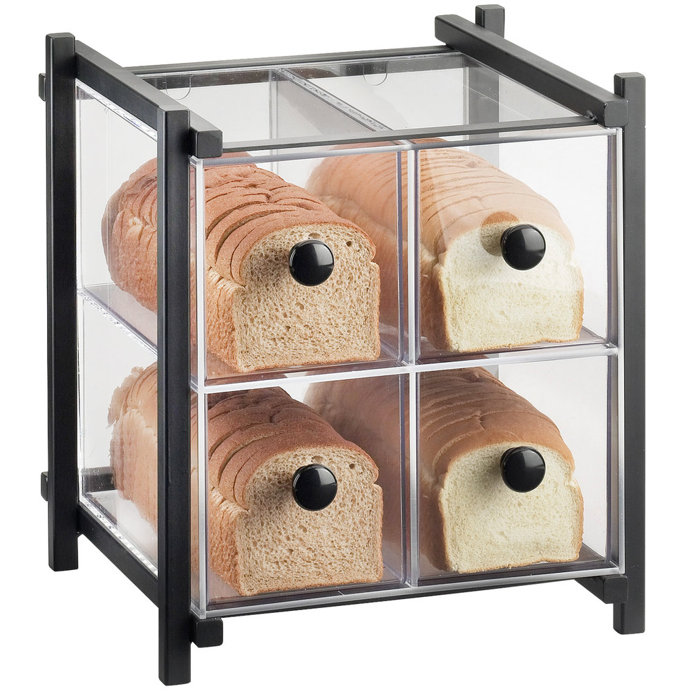 "Cal-Mil 1146-13 One by One Four Drawer Black Bread Display Case - 14"" x 14 3/4"" x 15 3/4"""