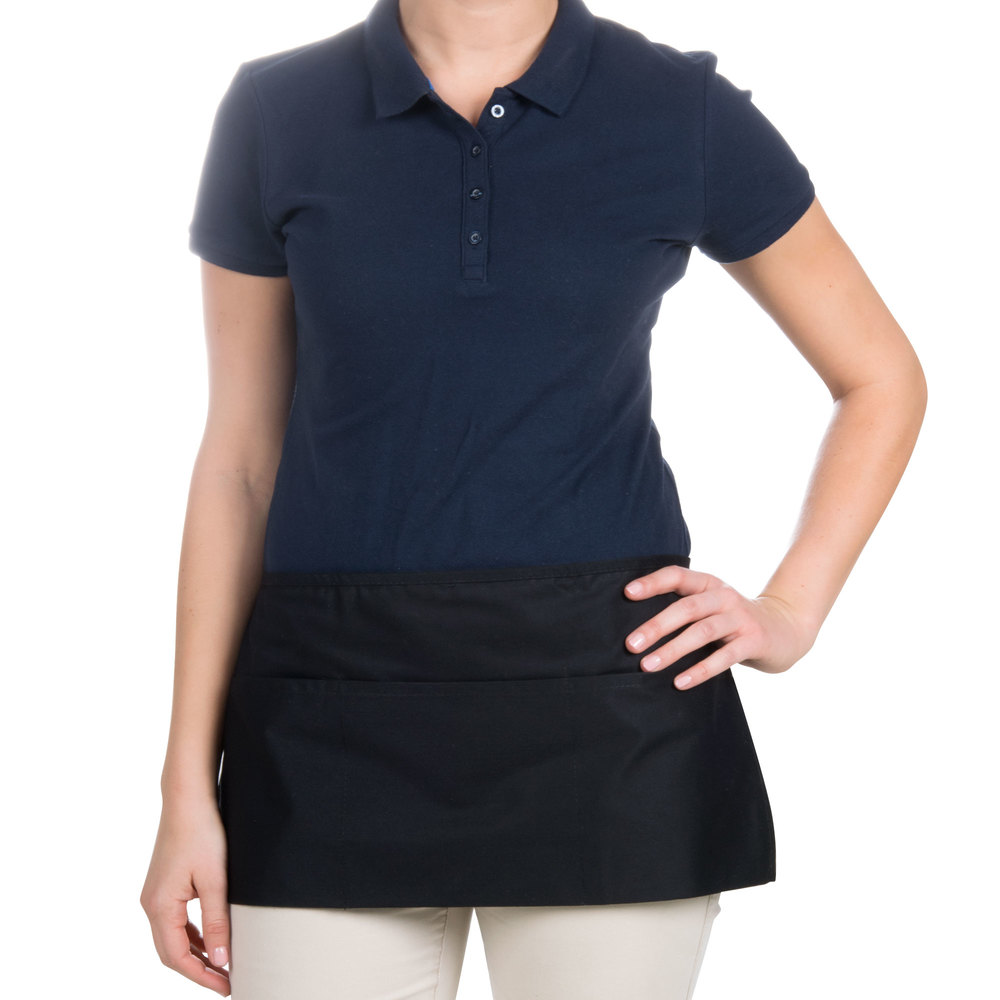 "Choice 12"" x 24"" Black Front of the House Waist Apron"