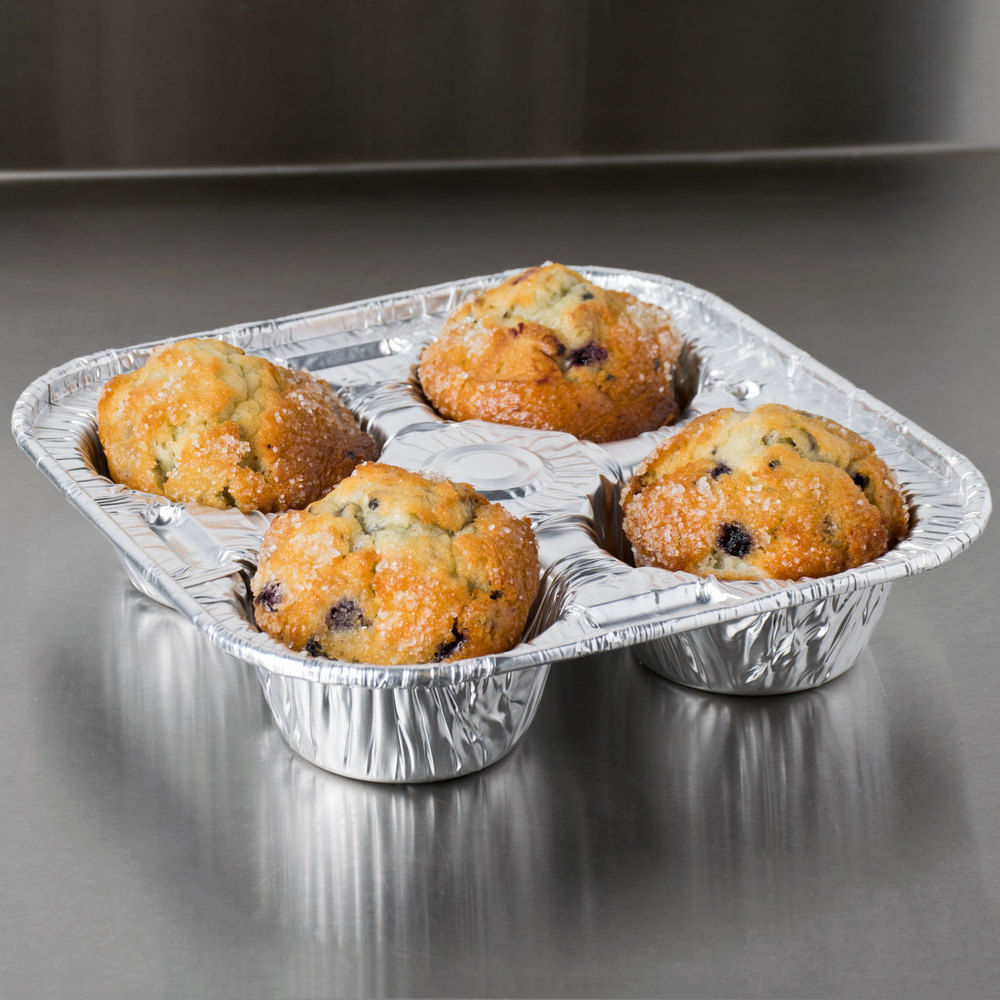 D&W Fine Pack D93 4 Cavity Foil Texas / Jumbo Muffin Pan - 250/Case