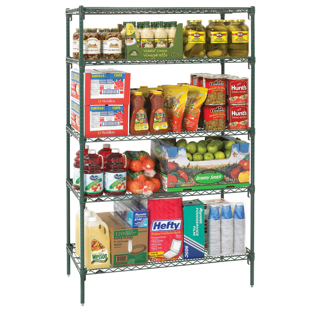 "Metro 5A337K3 Stationary Super Erecta Adjustable 2 Series Metroseal 3 Wire Shelving Unit - 18"" x 36"" x 74"""