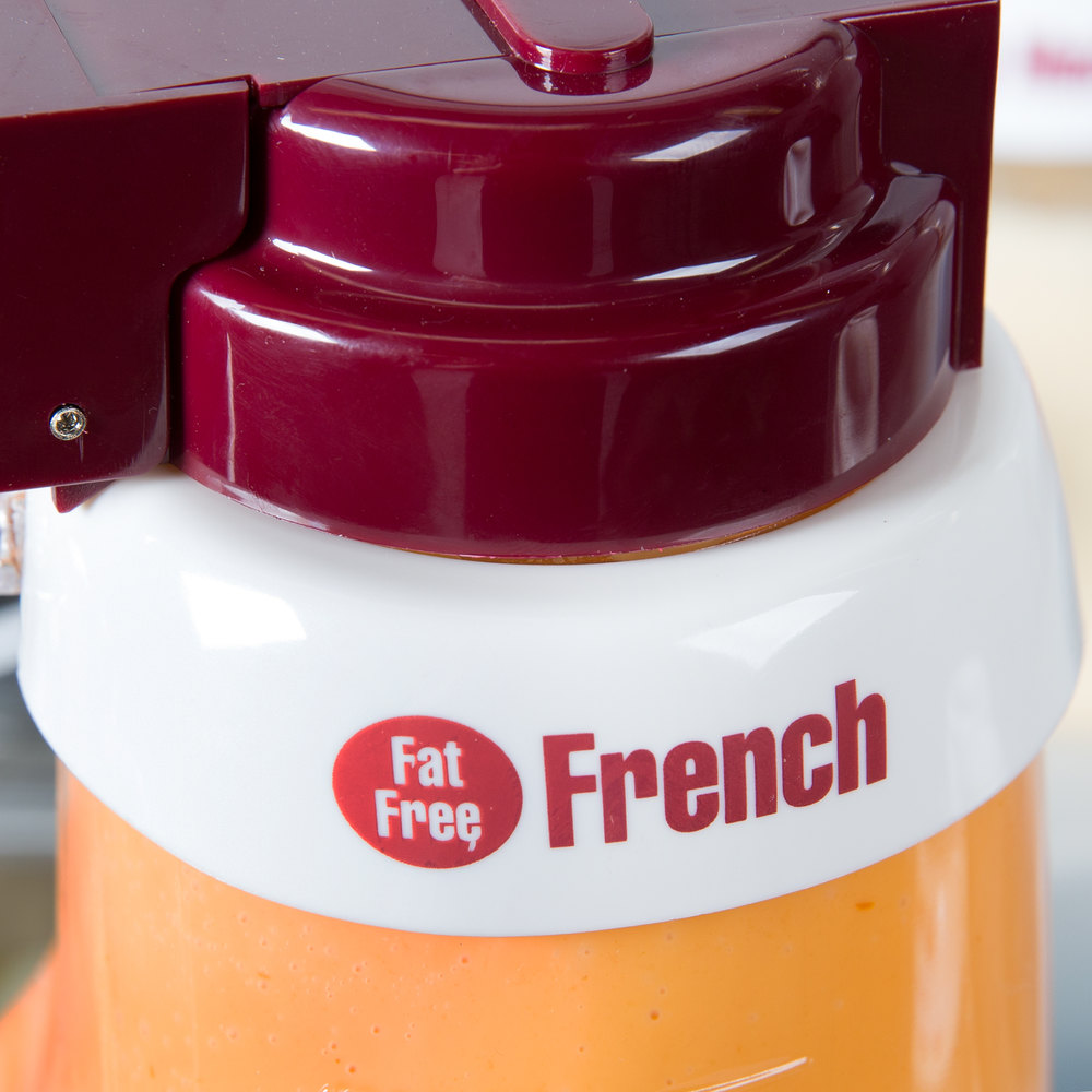 "Tablecraft CM17 Imprinted White Plastic ""Fat Free French"" Salad Dressing Dispenser Collar with Maroon Lettering"