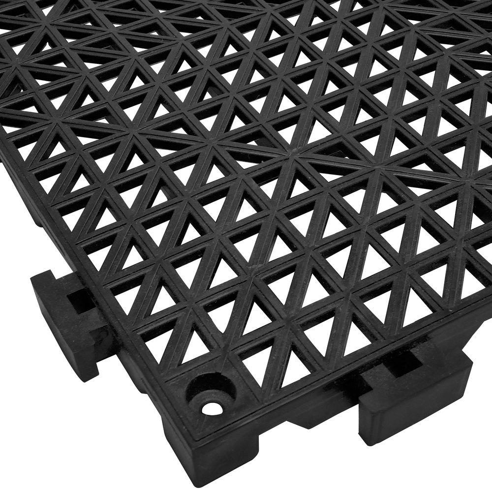 Floor mats interlocking tiles - Cactus Mat 2557 Cthd Poly Lok 12 X 12 Black Heavy Duty Vinyl Interlocking Drainage Floor Tile