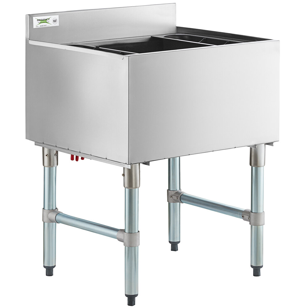 Regency 21 inch x 24 inch Underbar Ice Bin with 7 Circuit Post-Mix Cold Plate and Bottle Holders