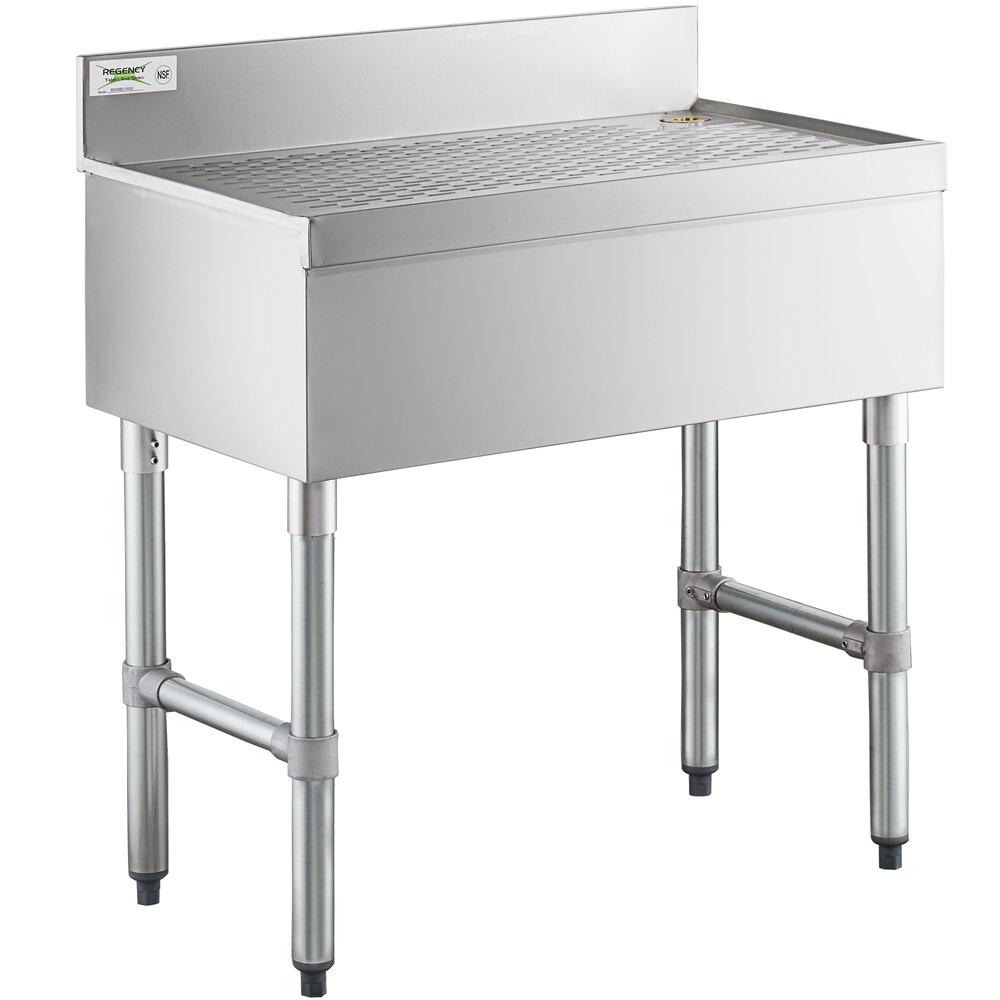 Regency Stainless Steel Underbar Drainboard - 30 inch x 18 inch