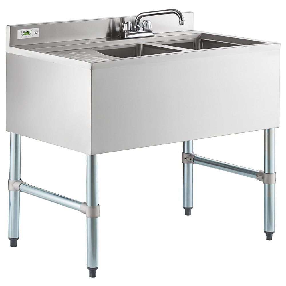 Regency 2 Bowl Underbar Sink with Left Drainboard and Faucet - 36 inch x 21 inch