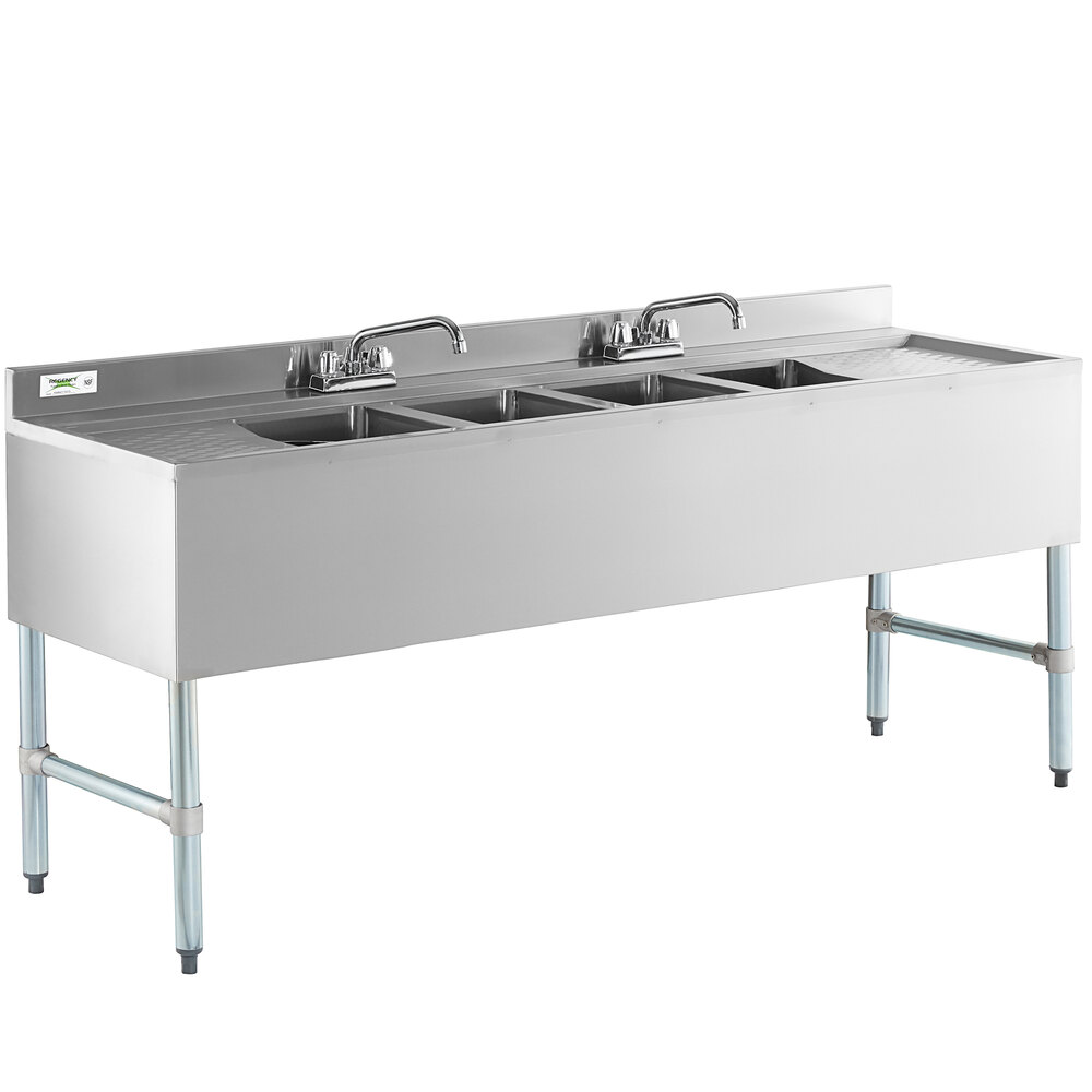 Regency 4 Bowl Underbar Sink with Two Faucets and Two Drainboards - 72 inch x 21 inch