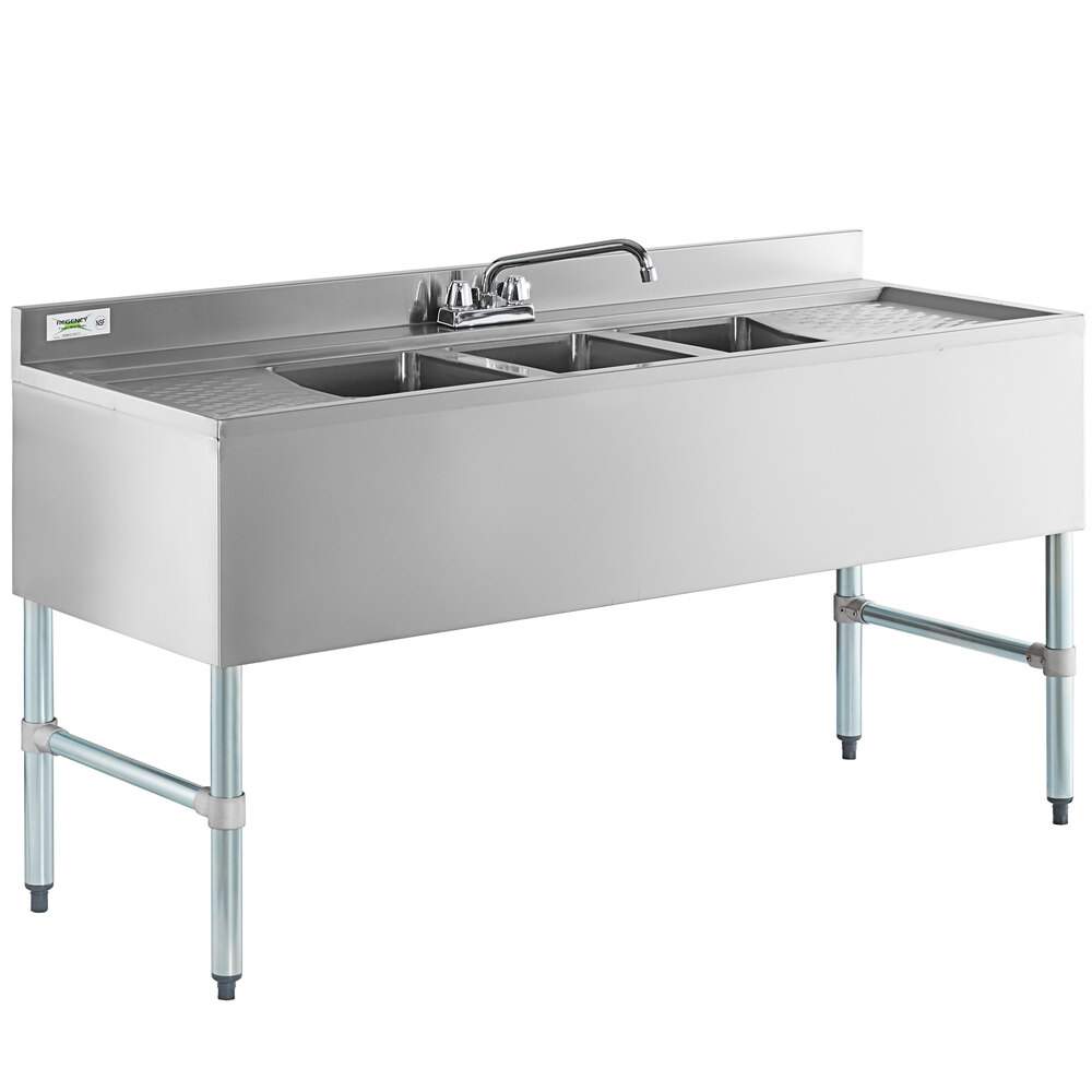Regency 3 Bowl Underbar Sink with Faucet and Two Drainboards - 60 inch x 21 inch