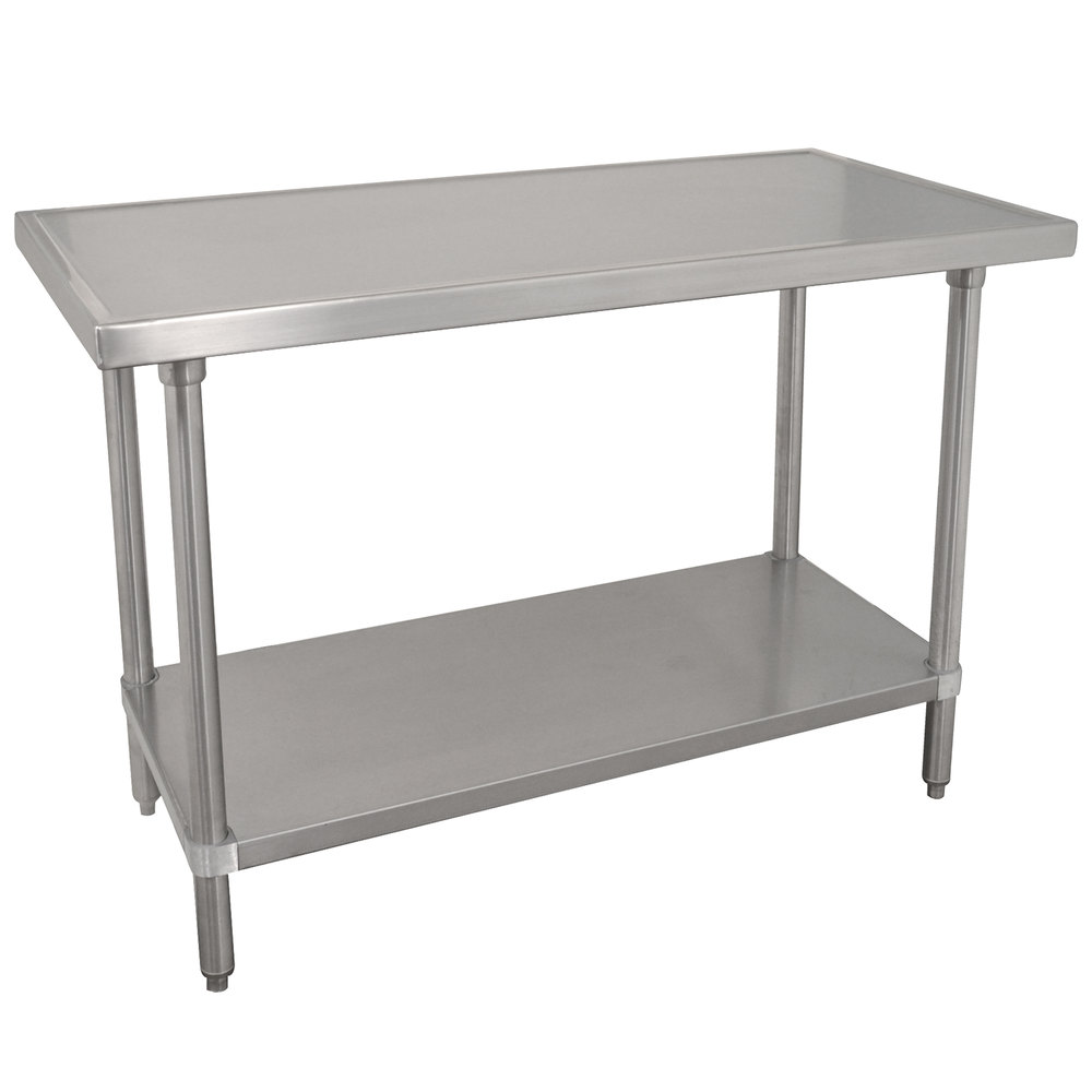 "Advance Tabco VSS-245 24"" x 60"" 14 Gauge Stainless Steel Work Table with Stainless Steel Undershelf"