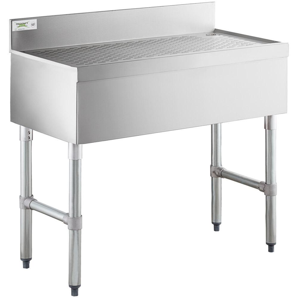 Regency Stainless Steel Underbar Drainboard - 36 inch x 18 inch