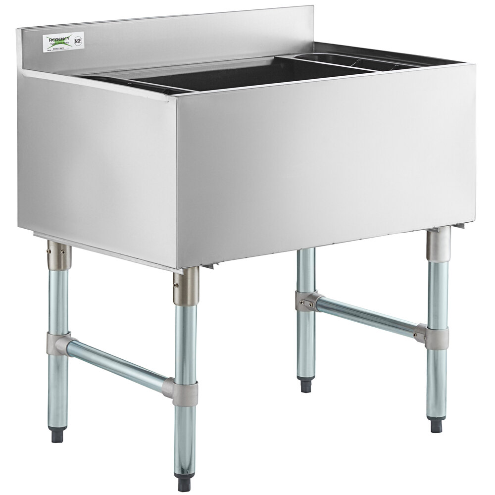 Regency 21 inch x 30 inch Underbar Ice Bin with 10 Circuit Post-Mix Cold Plate and Bottle Holders