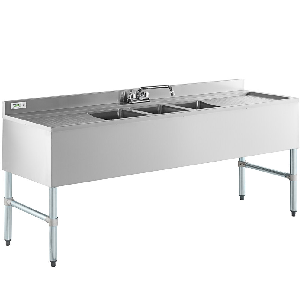 Regency 3 Bowl Underbar Sink with Faucet and Two Drainboards - 72 inch x 21 inch