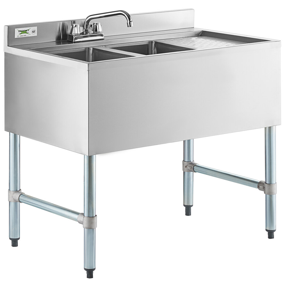 Regency 2 Bowl Underbar Sink with Right Drainboard and Faucet - 36 inch x 21 inch