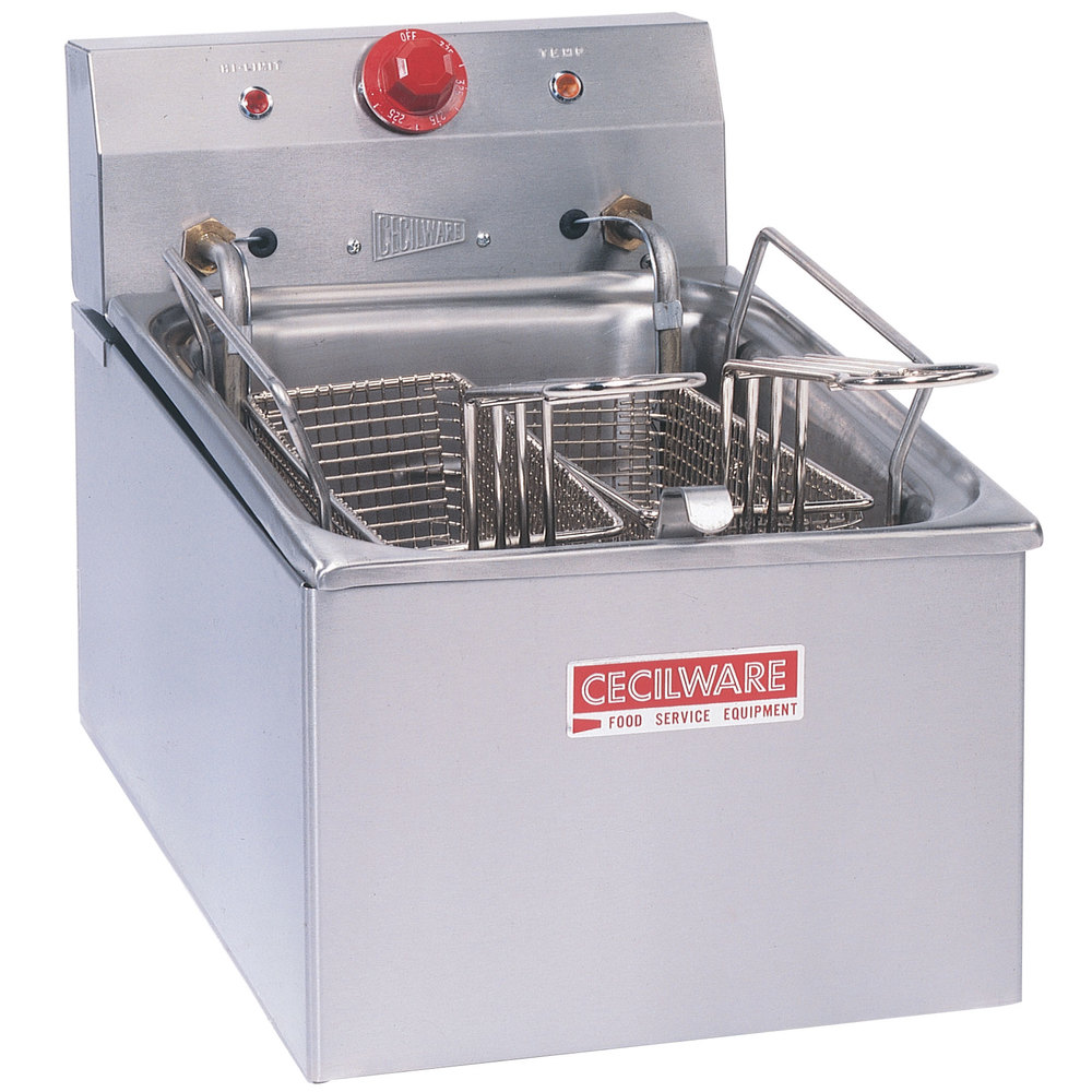 Cecilware EL250 Stainless Steel Commercial Countertop Electric Deep Fryer with 15 lb. Fry Tank - 4200/5500W
