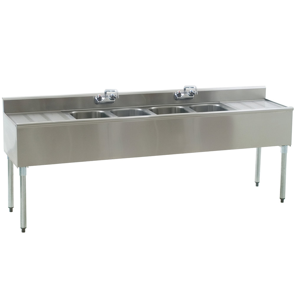 Eagle Group B7C-4-18 Underbar Sink with Four Compartments, Two Drainboards, and Two Faucets - 84""