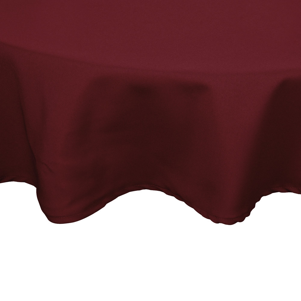"90"" Round Burgundy 100% Polyester Hemmed Cloth Table Cover"