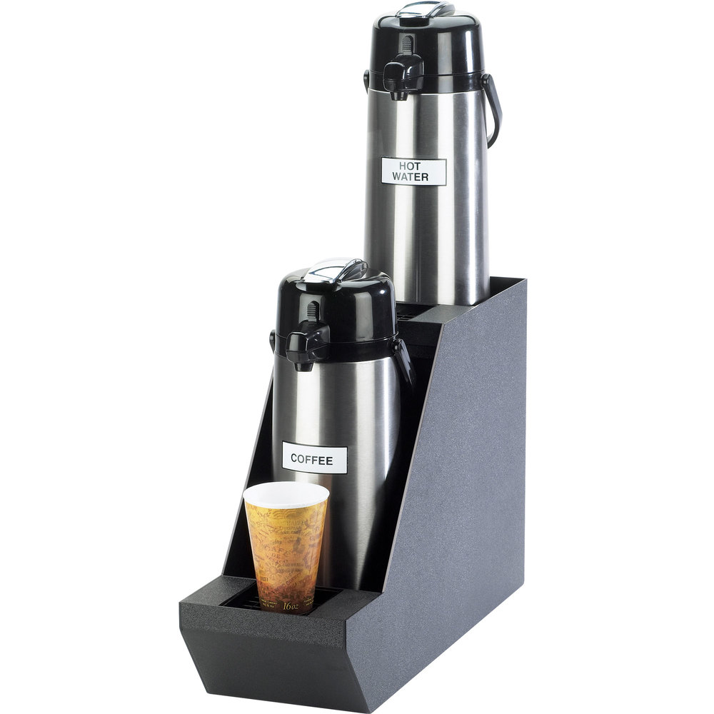 "Cal-Mil 360-2 Classic Black Dual Airpot Stand with Drip Trays - 7 1/2"" x 23 1/2"" x 15 1/4"""