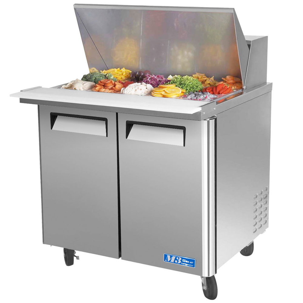 "Turbo Air MST-36-15 36"" M3 Series Mega Top Refrigerated Salad / Sandwich Prep Table with Two Doors"