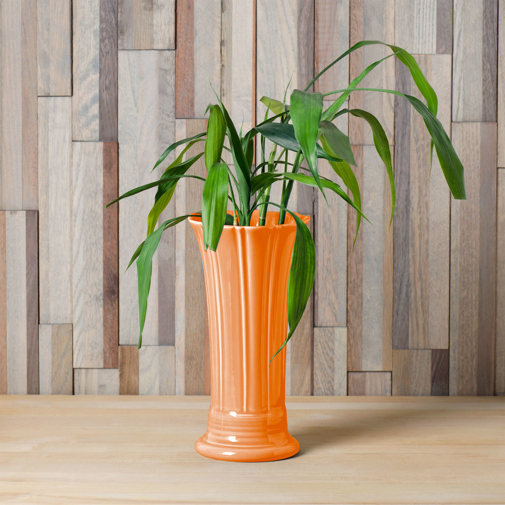"Homer Laughlin 491325 Fiesta Tangerine 9 5/8"" Medium Vase - 4/Case"