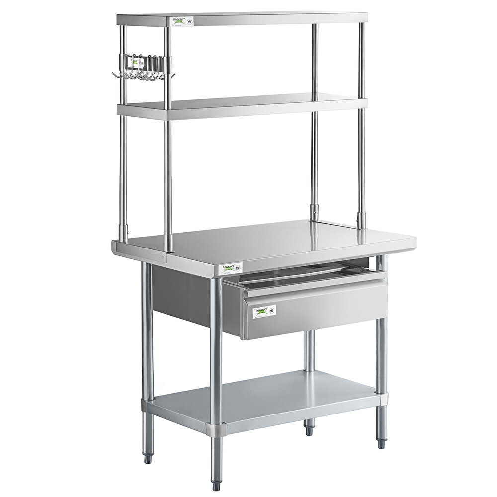 Regency 24 inch x 36 inch 18-Gauge 304 Stainless Steel Commercial Work Table with Undershelf and Overshelf, Drawer, and Pot Rack