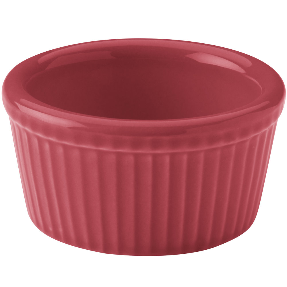 Hall China 38345326 Scarlet 4 oz. Colorations Fluted Ramekin - 36/Case