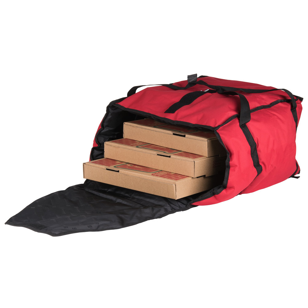 "San Jamar PB20-12 20"" x 18"" x 12"" Insulated Red Pizza Delivery Bag - Nylon"