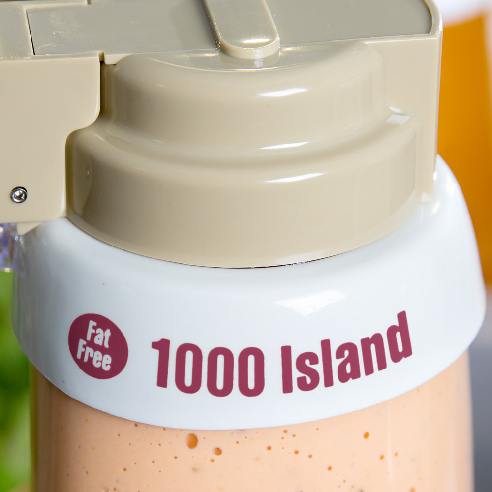 "Tablecraft CM18 Imprinted White Plastic ""Fat Free 1000 Island"" Salad Dressing Dispenser Collar with Maroon Lettering"